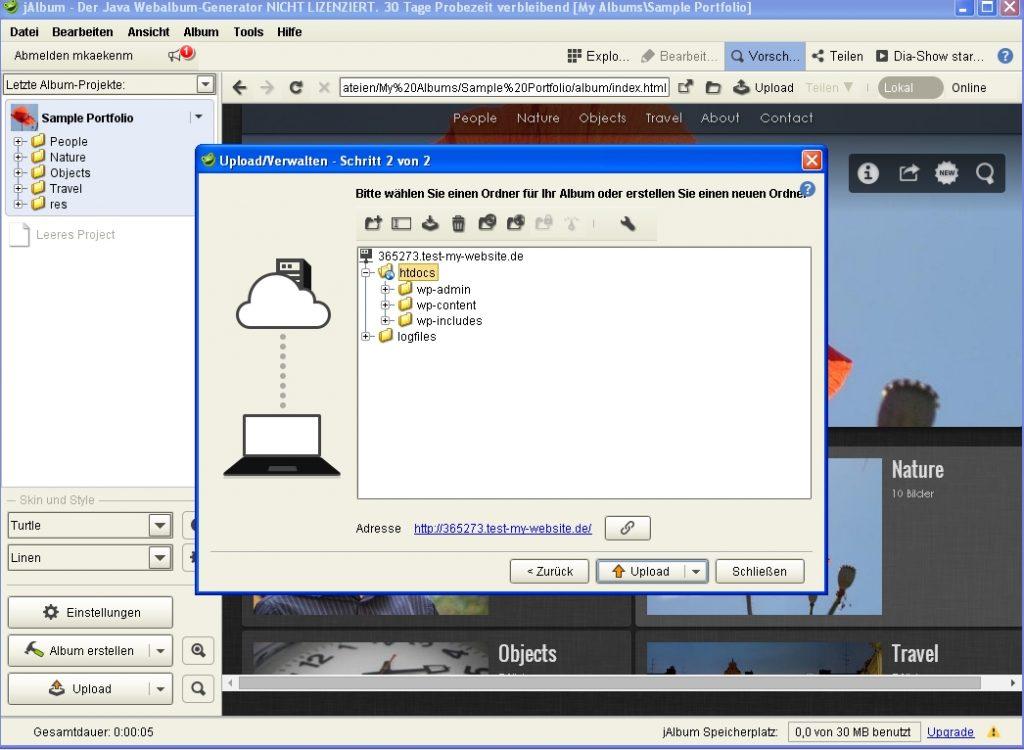 Screenshot von jAlbum mit dem Upload dialog