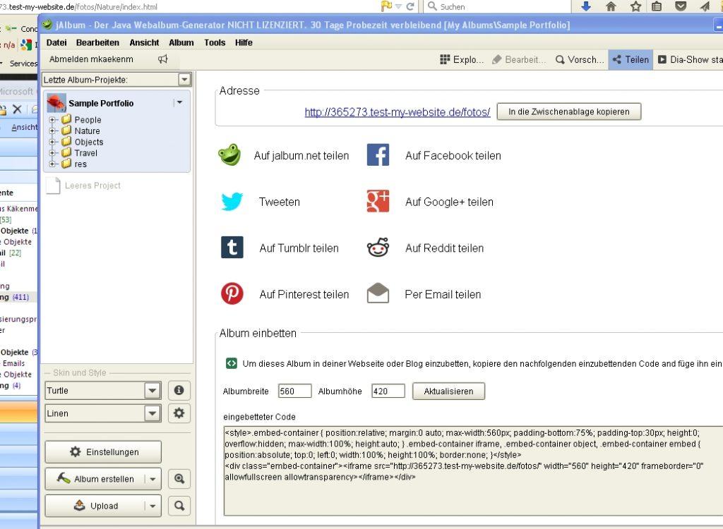 Screenshot jAlbum und Social Media Features
