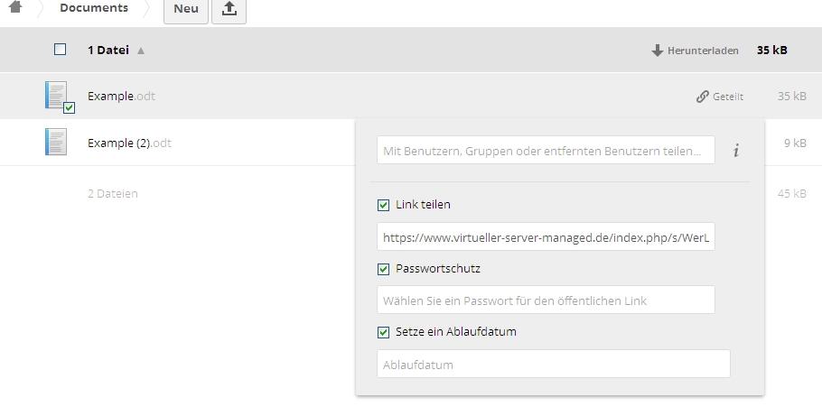owncloud_share und Schutz durch Passwort und Ablaufdatum