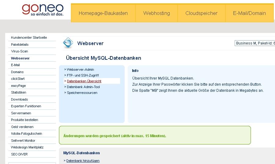 Screenshot Kundencenter goneo  Datenbanken