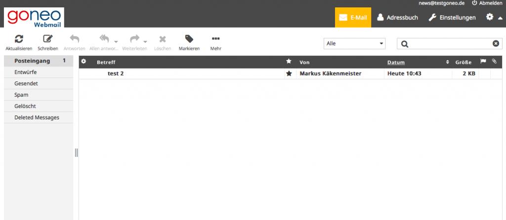 Screenshot goneo Webmail Inbox
