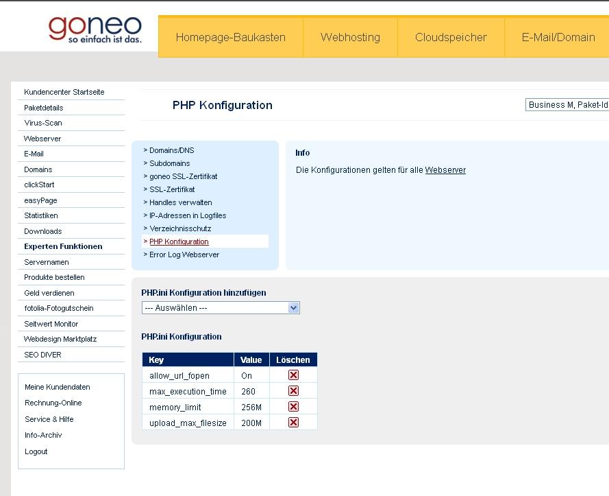 Screenshot goneo Kundencenter Experteneinstellungen PHP Konfiguration ändern