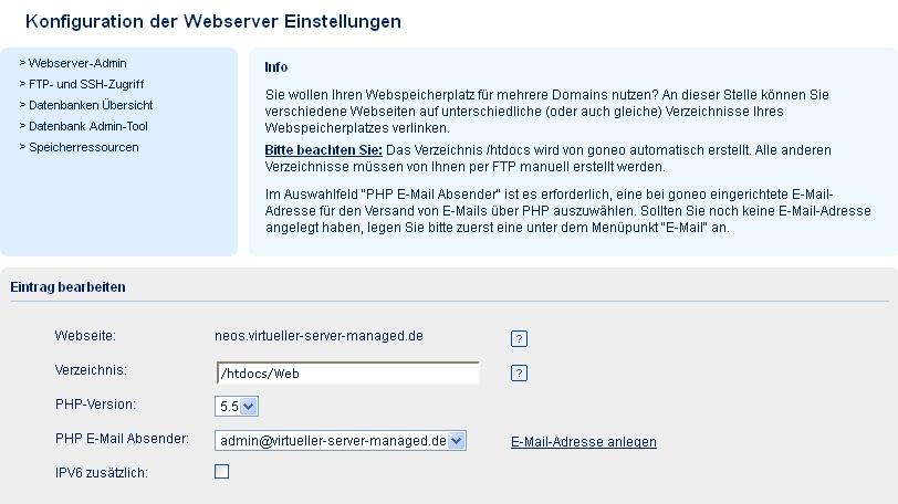 Screenshot goneo Kundencenter Webserver Einstellungen Neuen Webserver anlegen