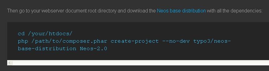 Screenshot der Installationsanweisung (Serverbefehl) von Neos