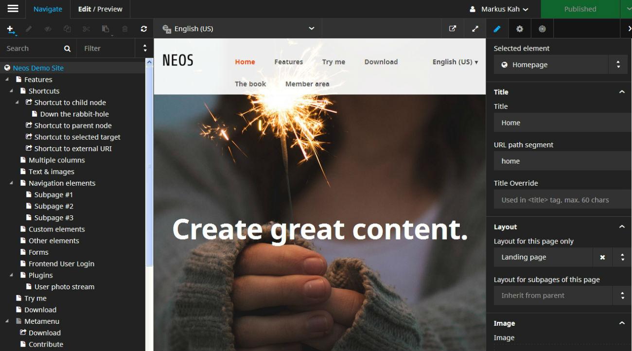 Screenshot Neos 2.0 Backend auf goneo Managed Server
