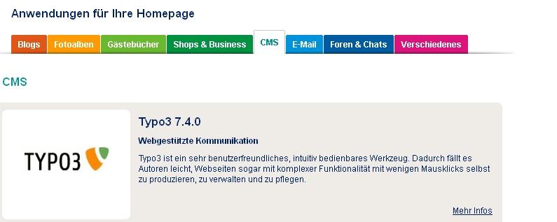 Screenshot goneo Kundencenter > clickStart > CMS