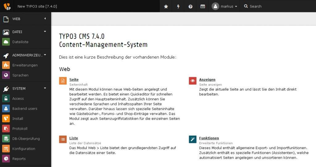Screenshot des Backend von Typo3 7.4