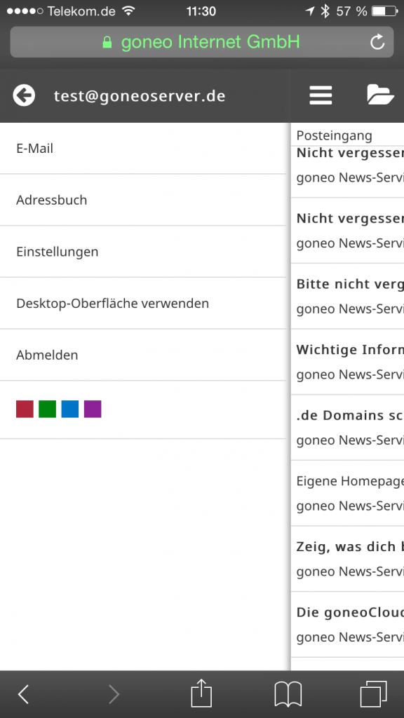 """Screenshot iphone 6 mit Roundcube und """"Outlook"""" Template von Tecorama."""