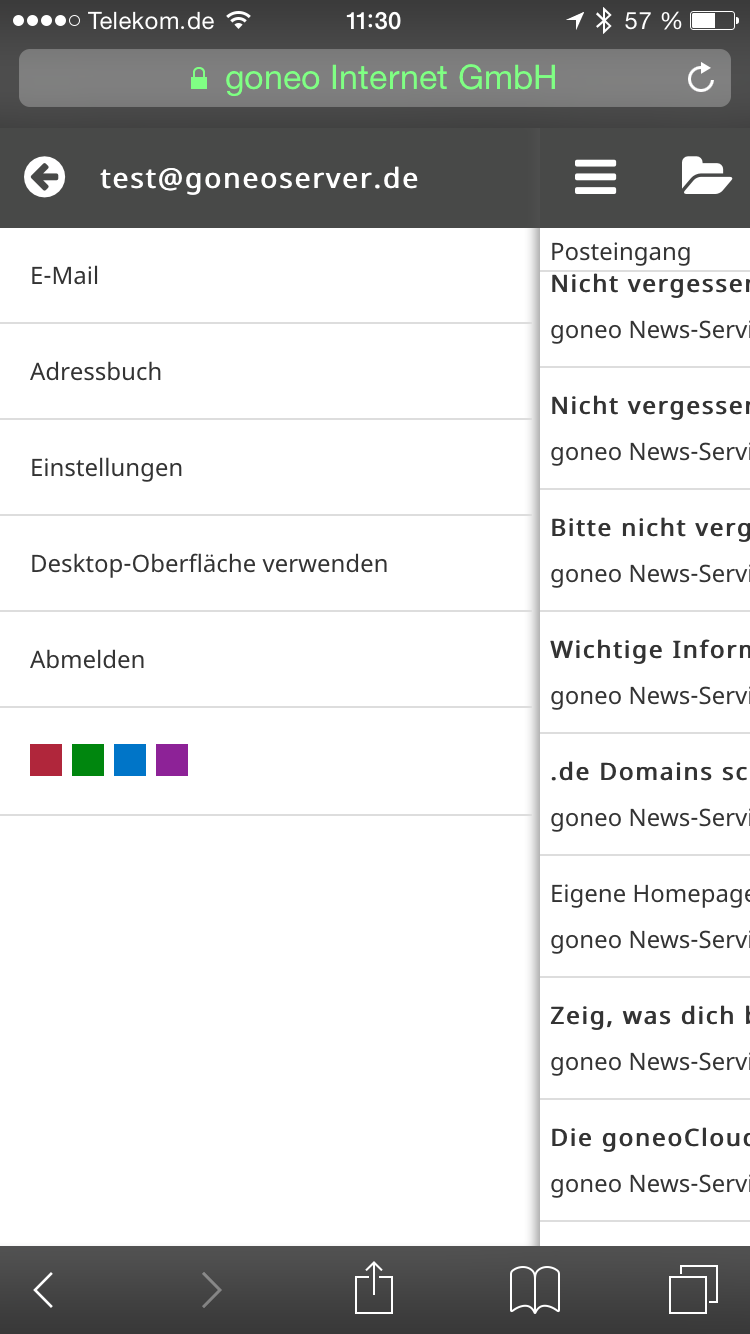"Screenshot iphone 6 mit Roundcube und ""Outlook"" Template von Tecorama."