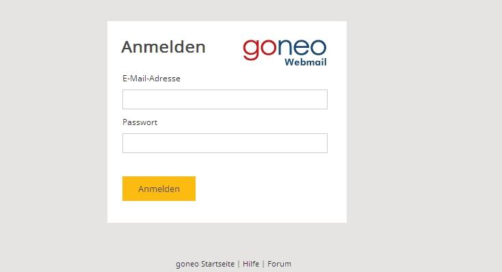 Screenshot von goneo Webmail (Anmeldung)