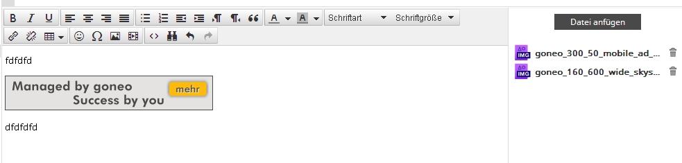 Auschnitt Maileditor HTML von Roudncube.