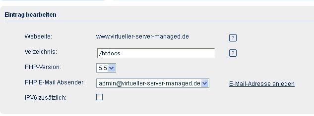 Screenshot goneo Kundencenter PHP Webserver