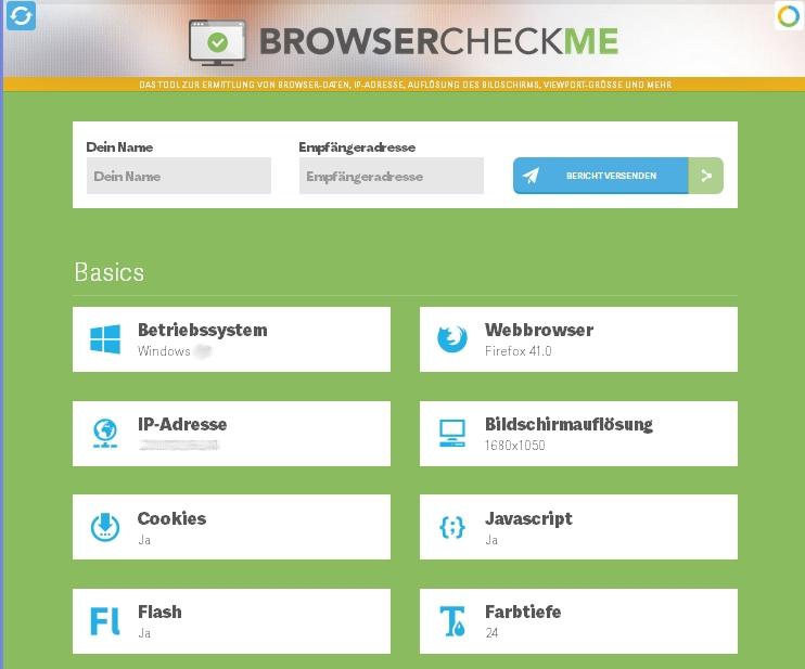 Screenshot browsercheck.me Startseite