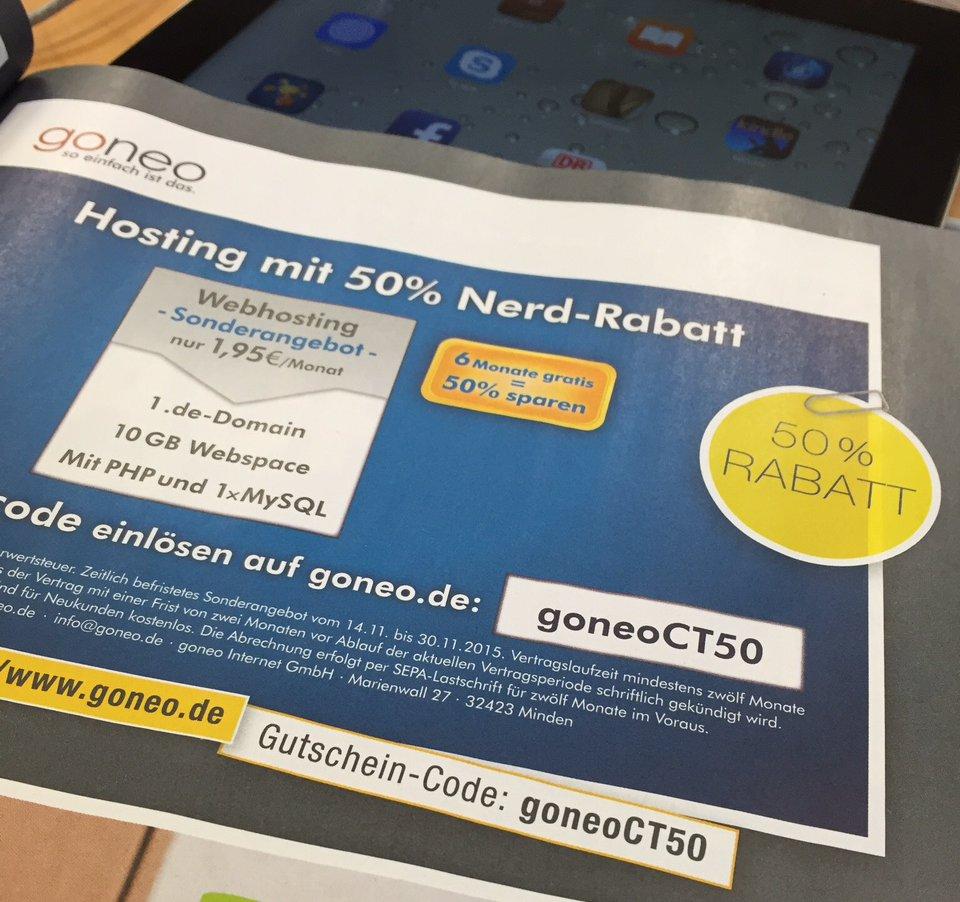 Nerdcard goneo Gutschein Hostingpaket 50% billiger Aktion