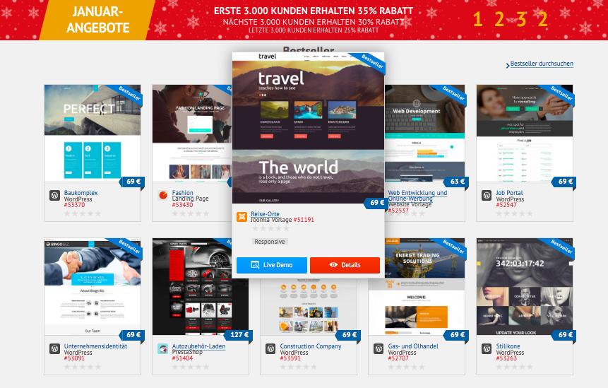 Screenshot Templatemonster Deutschland mit 35-Prozent-Rabattaktion