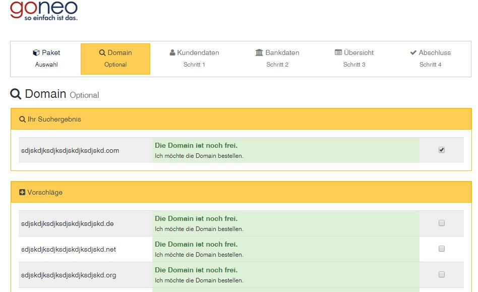 Screenshot goneo Destellprozess Domainsuche