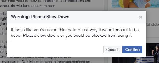 Facebook Warnung falls die Algos einen besonders aktiven user entdecken.