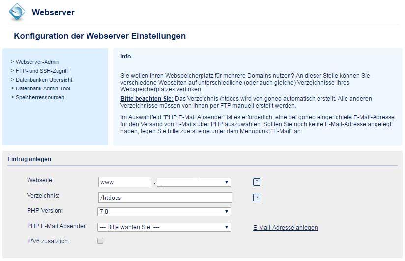 goneo-Kundencenter Webservereinträge anlegen