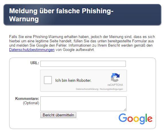 Screenshot false positive Google Safe Browsing Warning