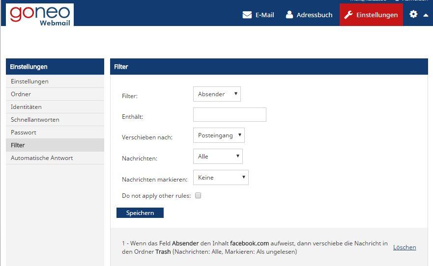 Filter und Regeln im goneo Webmailer