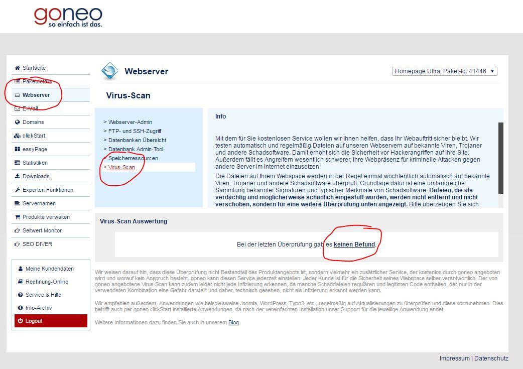 screensh Kundencenter Seite Virussscan kein Befund