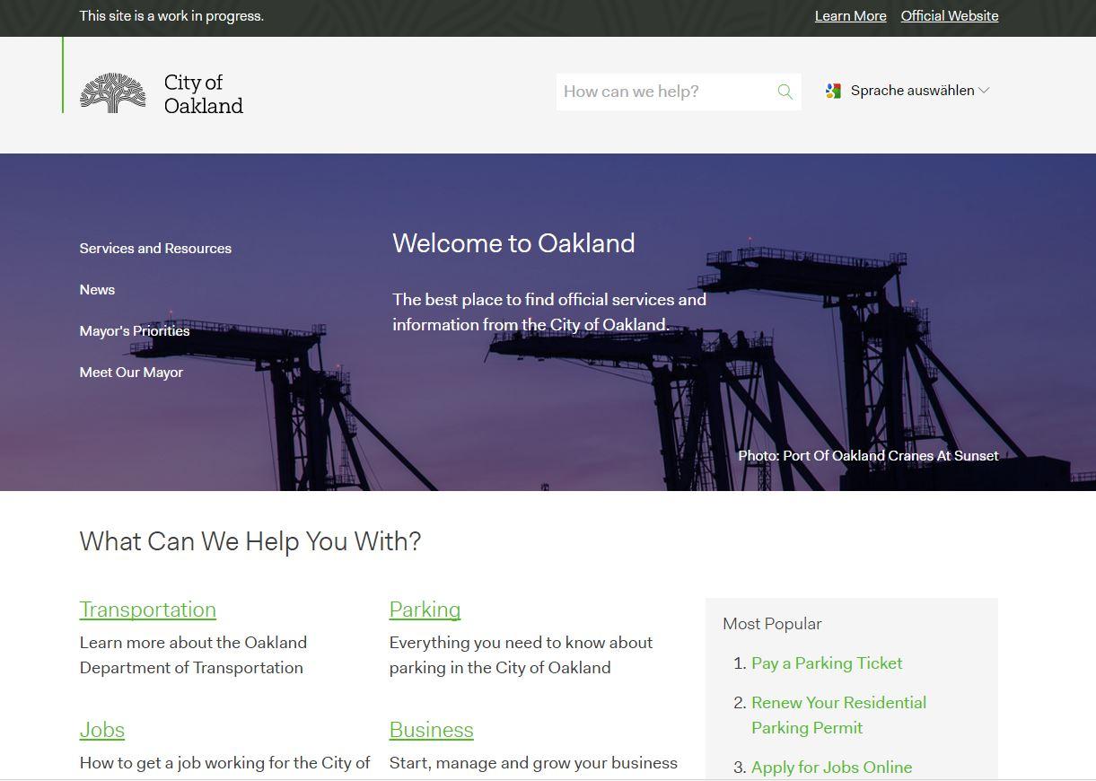 Screenhot der neuen Seite von Oakland, Cal. April 2017