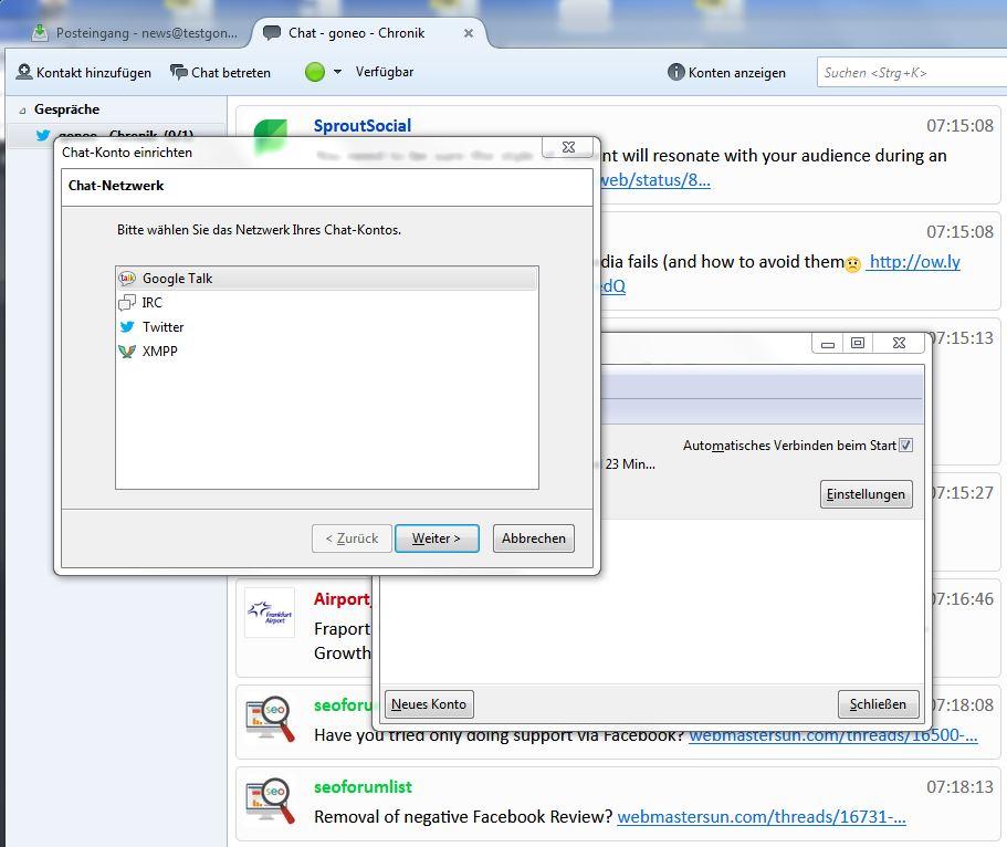 Thunderbird Chat-Feature Konto hinzufügen