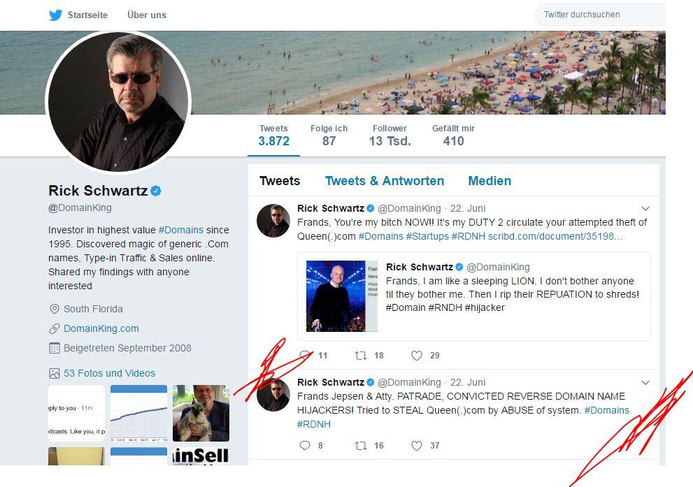 Screenshot Twitter Account Rick Schartz nach Reverse Domain name hijacking