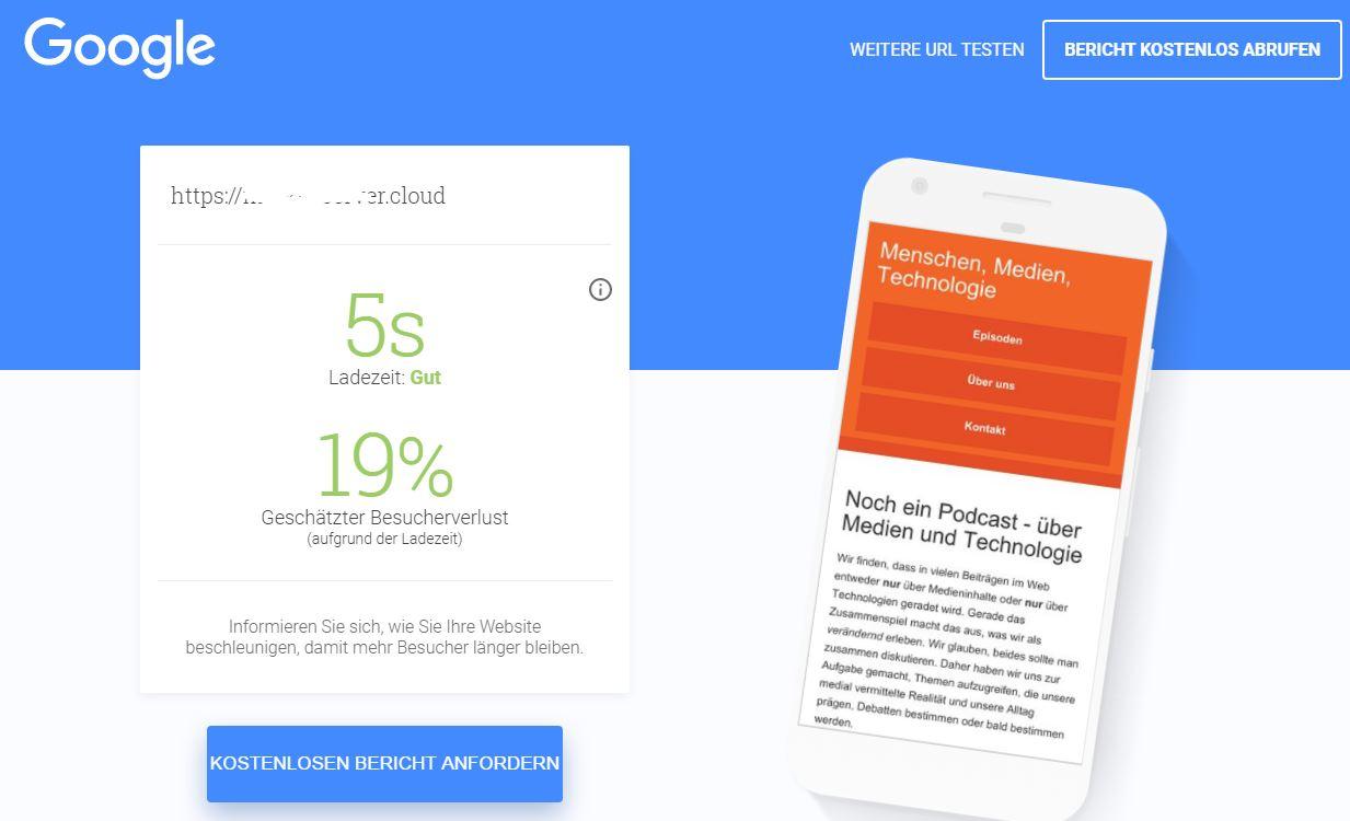 beispielausgabe Google Webspeed Test