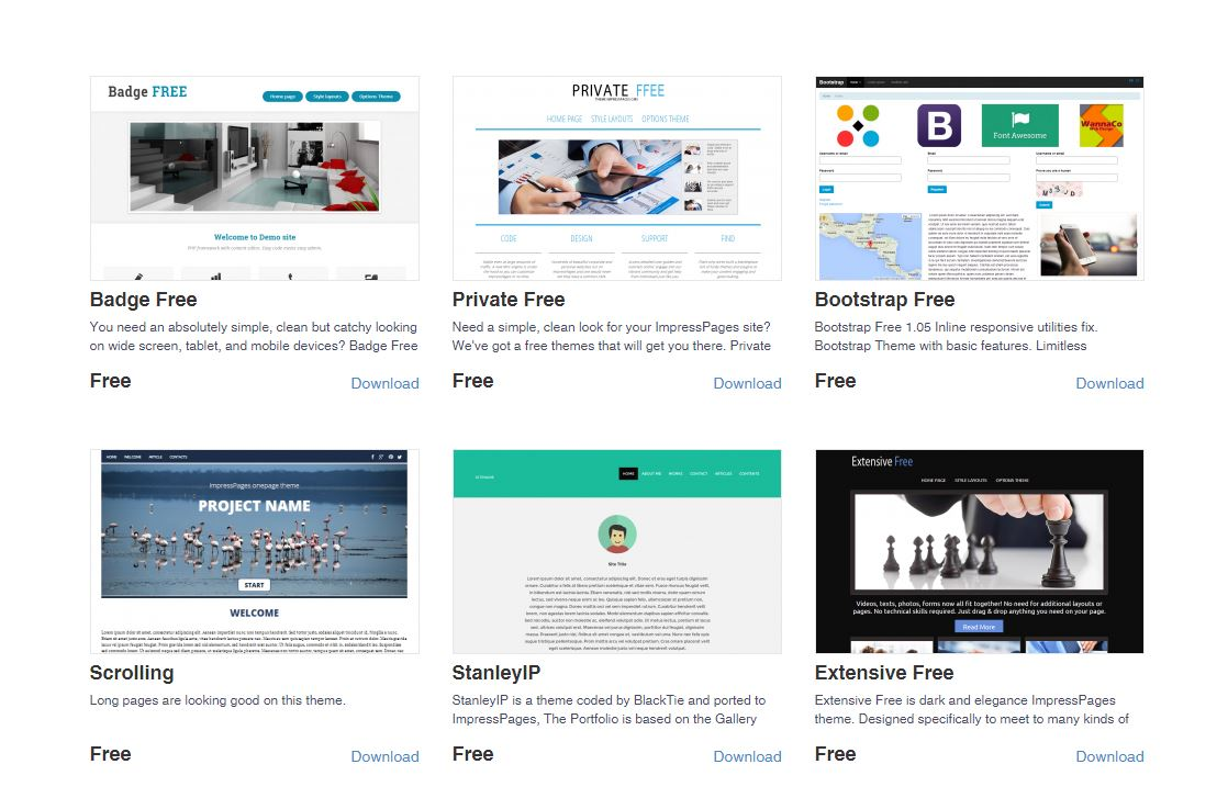 Impress Pages marktet place free themes