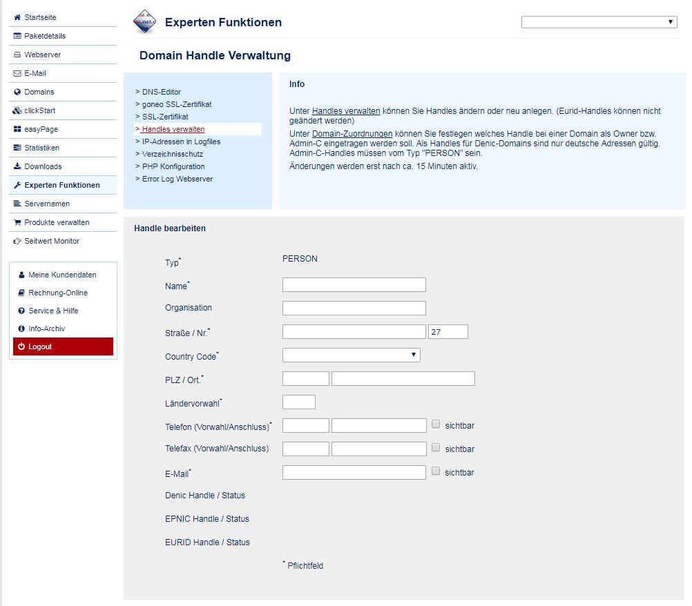 Domain Inhaber Daten ändern