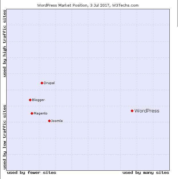 Wordpress Marktanteil Portfolio große versus kleine und high traffic vs low traffic Seiten