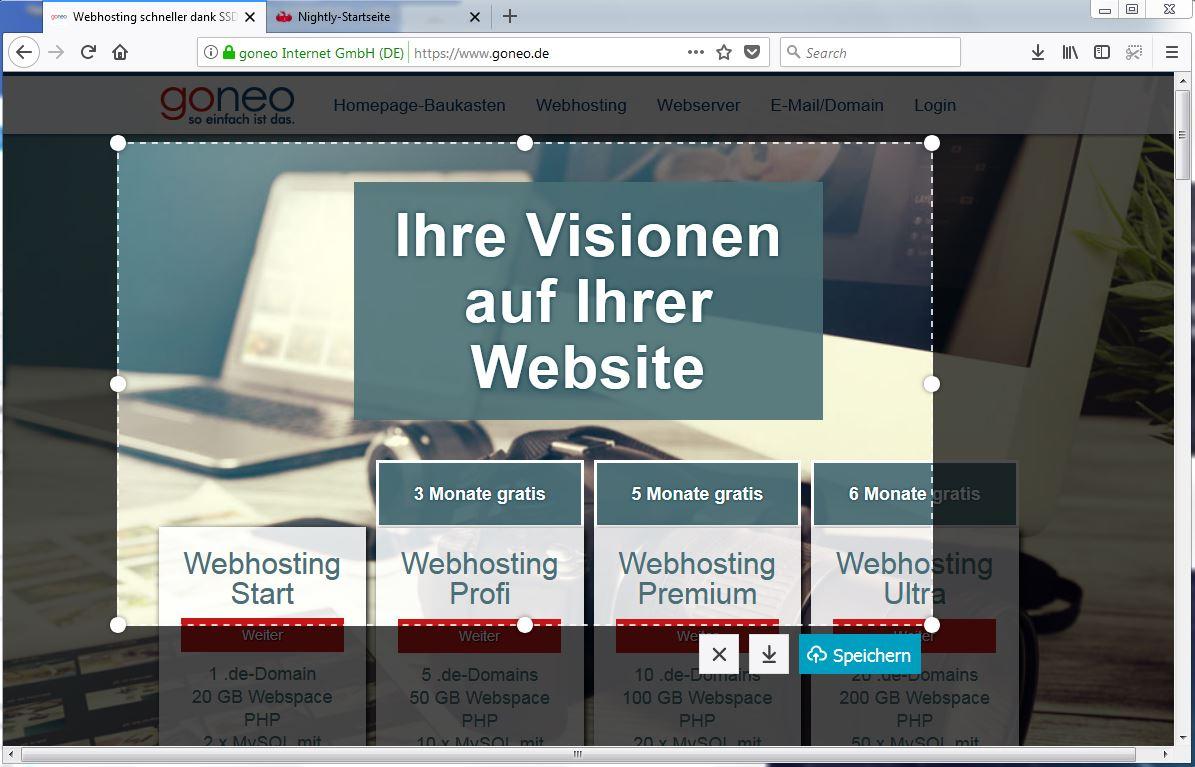 screenshots auf Firefox 57 nightly
