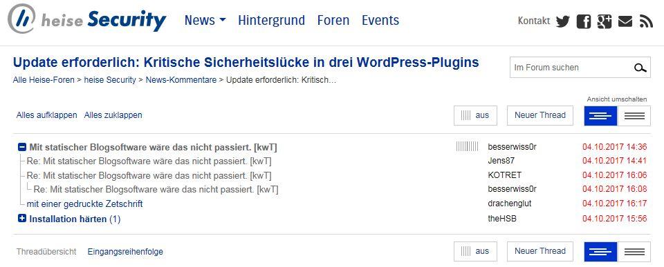 Hoher Unterhaltungswert: Das heise security online Forum (Screenshot)