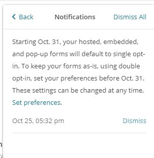 Mailchimp Double Opt in Abschaltung Hinweis