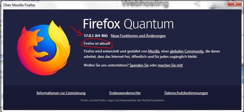 DFirefox Quantum nach dem Update auf 57.0.1