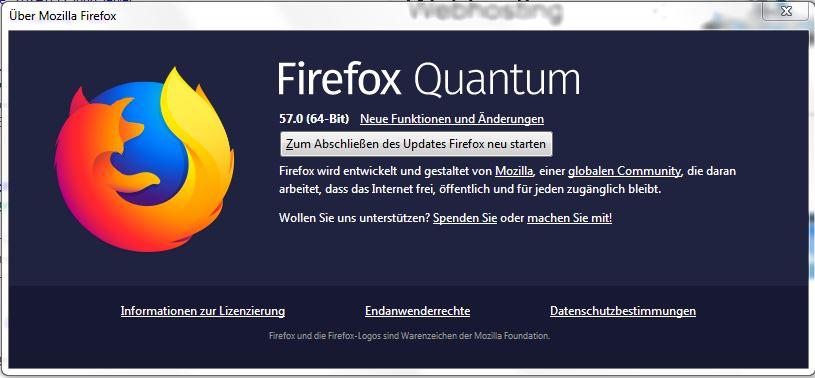 firefox 57.0 Update Fenster