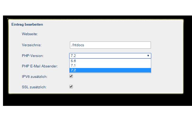 PHP Version auswählen bei goneo