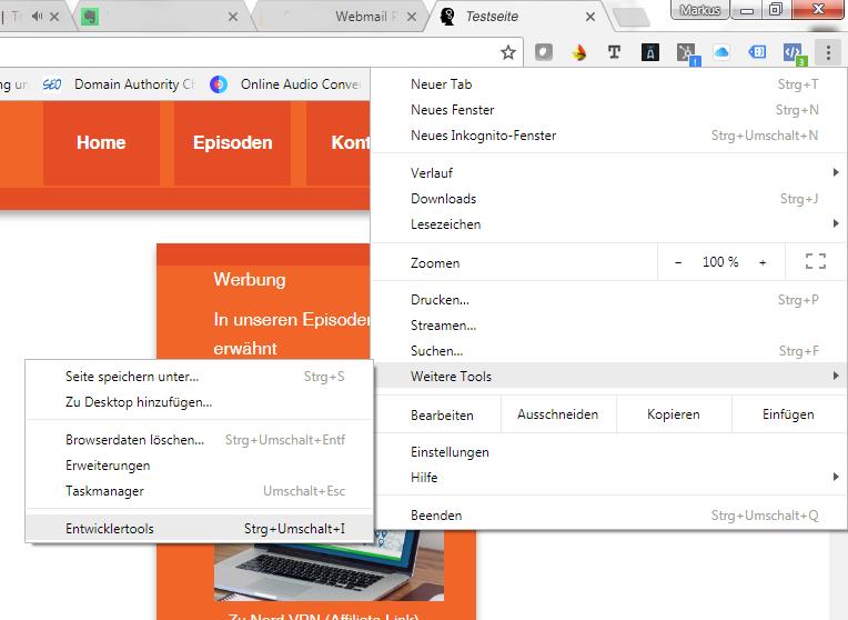 So ist Loghthouse in Google Chrome zugänglich : Menüpunkt Entwicklertools