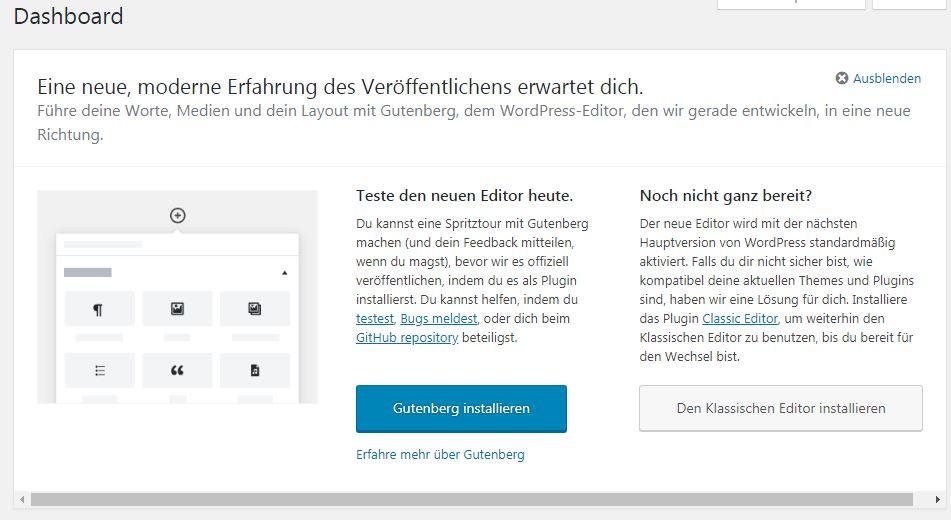 WordPress Dashboard Ansicht mit Gutenberg Werbung