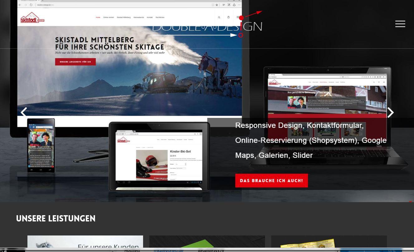 Screenshot Double A Design Startseite
