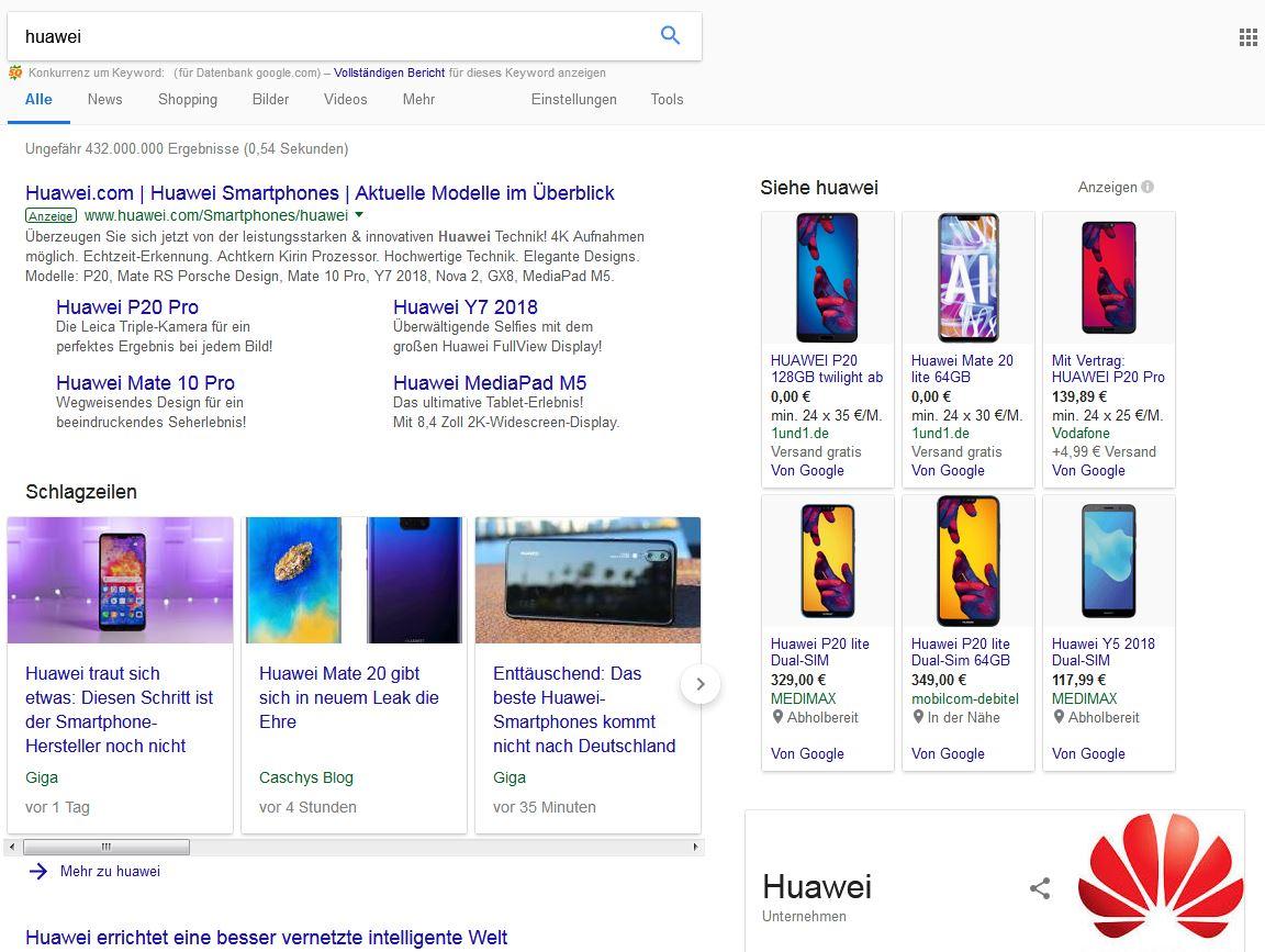 Suchergebnisseite von Google am Beispiel des Keywords Huawei