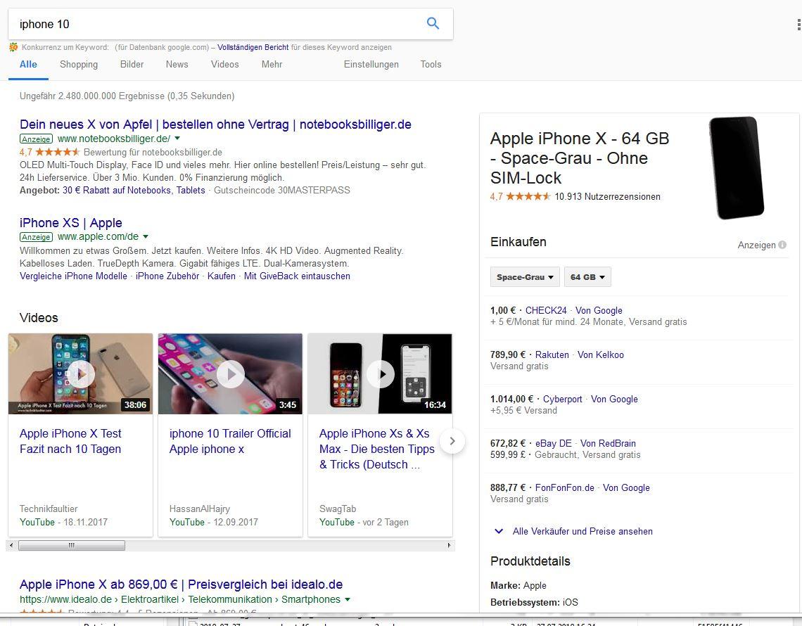 Beispiel einer Suchergebnisseite, hier zum Keyword iphone 10