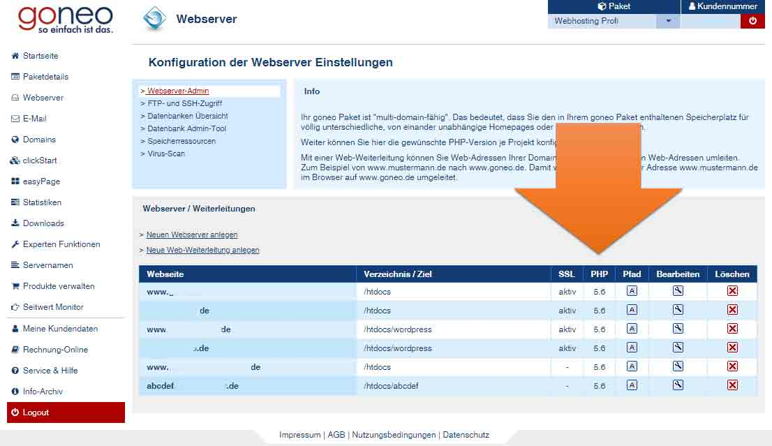 goneo Kundencenter Webserver Screenshot