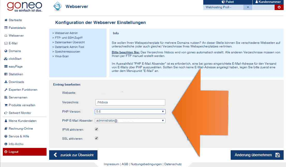 Auswahl der PHP Version pro Webserver im goneo-Kundencenter Screenshot