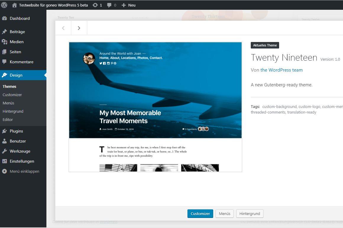 Screenshot WordPress 5 beta mit Theme Twenty Nineteen