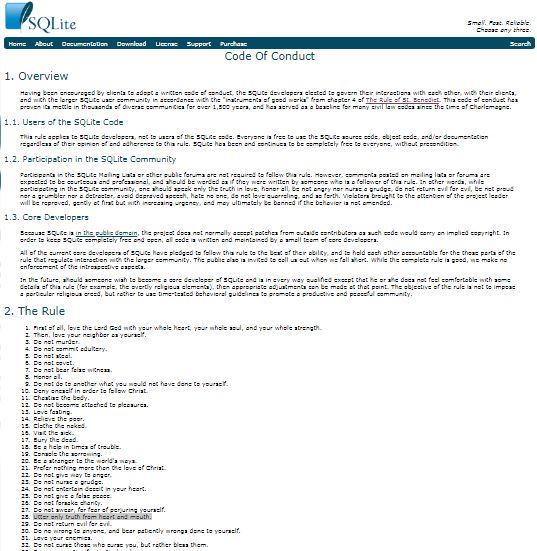 Screenshot des Code of Conduct bei SQLite.org