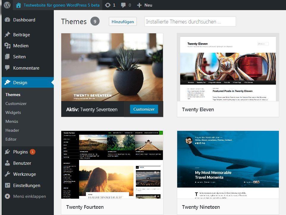 Screenshot Dashboard WordPress5 beta4
