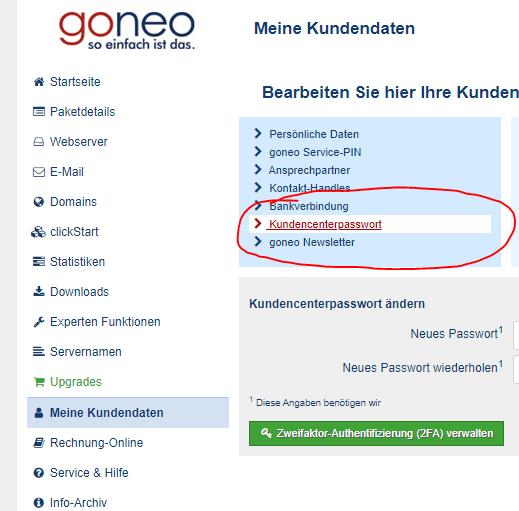 Screenshot Kundencenter: Passwort ändern