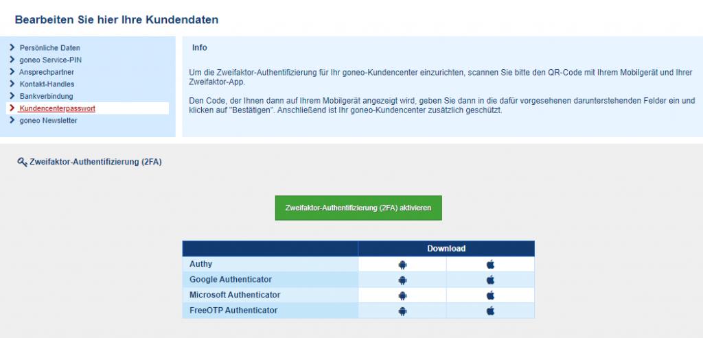 Screenshot Kundencenter: 2fa aktivieren